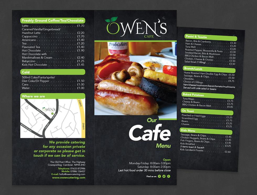 Owen Catering Cafe Menu