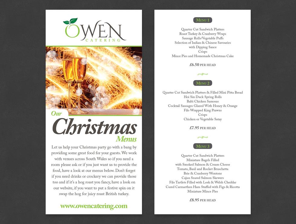 Owen Catering Christmas Menu Flyer