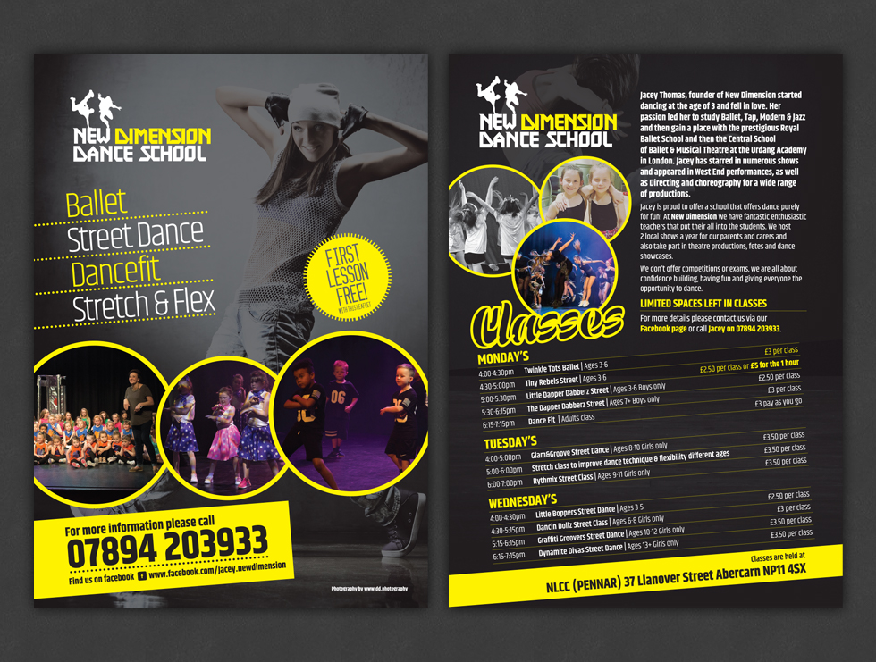 New Dimension Dance School Leaflets