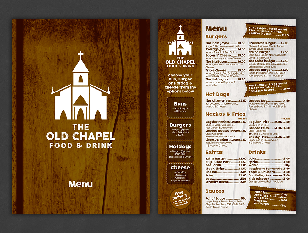 The Old Chapel Food & Drink Menu