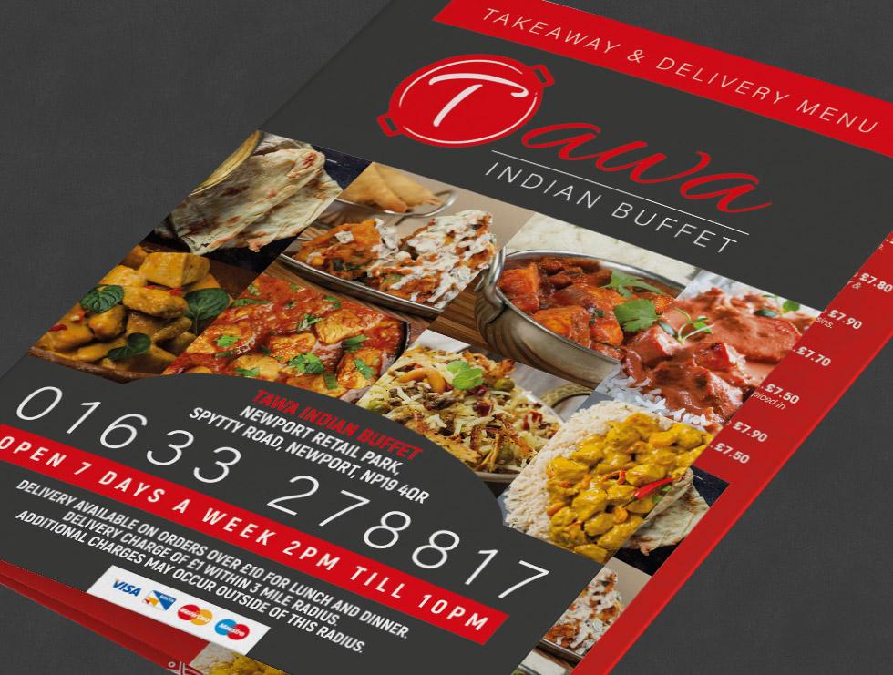 Tawa Indian Buffet Takeaway Menu Design
